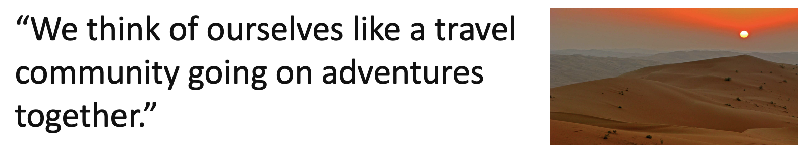 Travel quote and image of a desert
